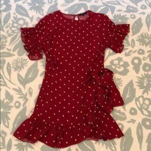 Olivaceous red and white polka dot wrap